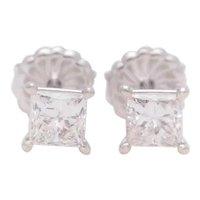 1.26 Carat Princess-Cut Diamond Stud Earrings in 18 Karat White Gold