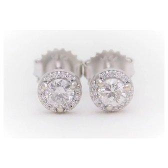 0.57 Carat Diamond Halo Stud Earrings in 14k White Gold