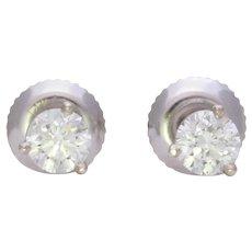 14k White Gold 0.54tcw Round Diamond Stud Earrings
