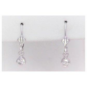 Vintage 14k White Gold Diamond Dangle Earrings
