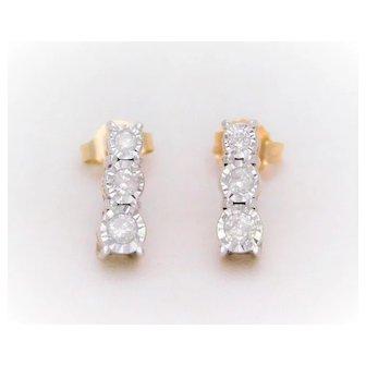 Vintage Graduating Diamond Drop Earrings