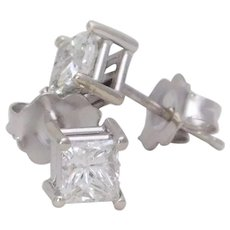 14k White Gold 0.83ct Princess Cut Diamond Stud Earrings