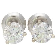 1.20ct Diamond Stud Earrings in an 14k White Gold Cocktail Setting