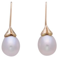 Vintage 18k Gold 11mm South Sea White Pearl Drop Earrings