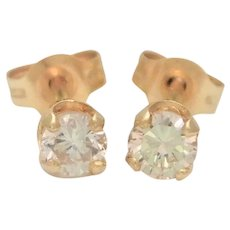 Vintage 0.25ct Natural Diamond Stud Earrings in a 14k Gold Four-Prong Setting