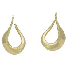 Italian Crafted 18k Gold Wavy Hoop Earrings