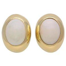 Vintage 18k Gold Bezel Set White Jade Omega Back Earrings