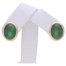 Vintage 14k Gold Bezel Set Jade Omega Back Earrings