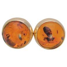 Vintage 14k Gold Natural Amber Stud Earrings
