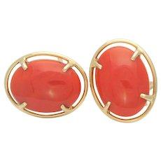 Vintage 14k Gold Bezel Set Red Coral Omega Back Earrings