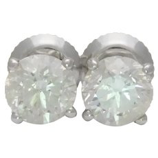 1.94ct Natural Round Brilliant-Cut Diamond Stud Earrings