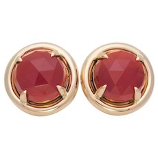 Custom 14k Gold Round Faceted Carnelian Omega Back Stud Earrings