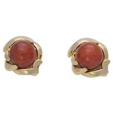 Vintage 14k Gold Red Coral Stud Earrings
