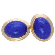 Vintage 18k Gold Bezel Set Lapis Lazuli Omega Back Earrings