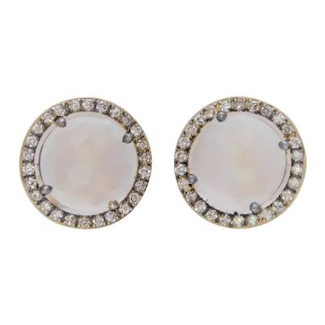 Vintage 14k Gold Snow Quartz and Diamond Halo Stud Earrings