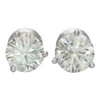 2.45ct Natural Round Brilliant Cut Diamond Stud Earrings in Platinum