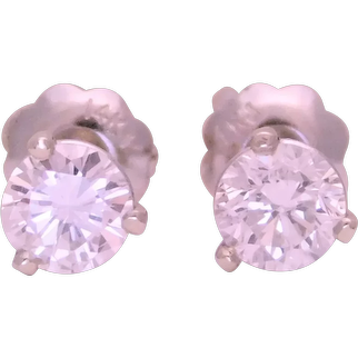 14k White Gold 1/2ct Natural Diamond Stud Earrings