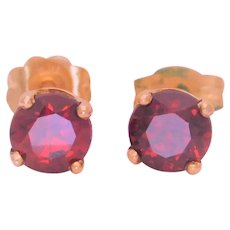 Vintage 14k Gold Natural Round Faceted Garnet Stud Earrings