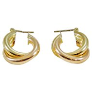14 Karat Yellow & Rose Gold Twisted Hoop Earrings