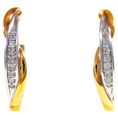 Gorgeous 10k Rose Gold/Sterling Siver and Diamond Oval Hoop Earrings