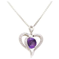 Vintage Sterling Silver Amethyst Heart Pendant Necklace