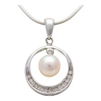 Lustrous 14k White Gold Akoya White Pearl and Diamond Pendant