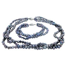 Custom Freshwater 3-Strand Peacock Pearl Necklace/Bracelet Set with Sterling Silver Oyster Clasp