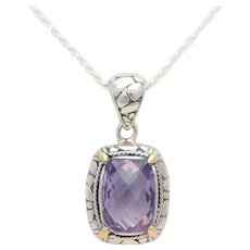 18k Gold and Sterling Silver 5.50ct Cushion-Checkerboard Amethyst Pendant Necklace