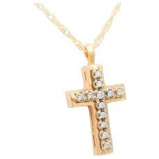 Vintage 14k Gold Diamond Cross Pendant Necklace