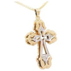 Vintage Two-Tone 14k Gold Diamond Cross Pendant
