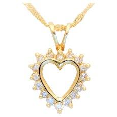 Vintage 14k Gold Diamond Heart Pendant Necklace