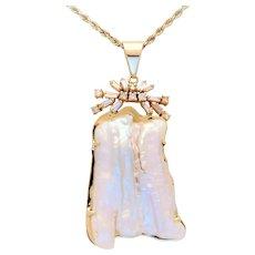 Vintage Handmade Rice Pearl and Diamond Pendant