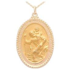 Vintage 14k Gold St. Christopher's Medal Pendant