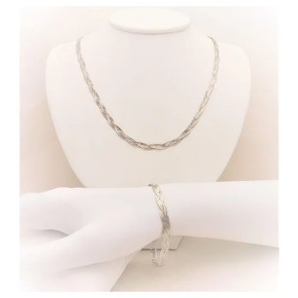 Italian Crafted Mid Century Sterling Silver Braided Necklace/Bracelet Set