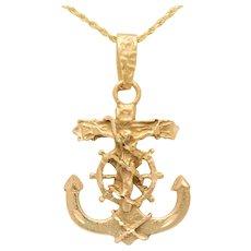 Vintage 14k Gold Mariner's Cross Pendant