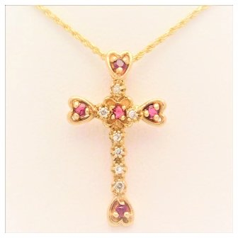Antique 14k Gold Diamond and Ruby Cross Pendant