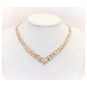 Vintage Two-tone Sterling Silver V-Shaped Choker Necklace