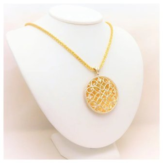 Italian Designer Sterling Silver and 24k Gold Pendant Necklace