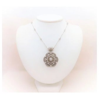 Sterling Silver and CZ Pendant Necklace with Magnet Clasp