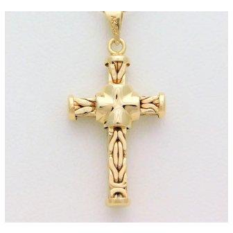 Vintage 18k Gold Byzantine Cross Pendant