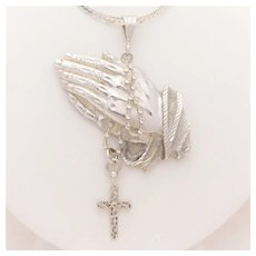 """Vintage Sterling Silver """"Hands Praying with Rosary"""" Large Pendant"""