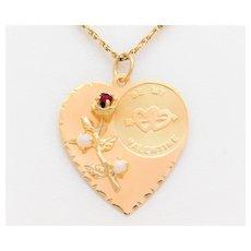 "Vintage 14k Gold ""Be My Valentine"" Pendant"