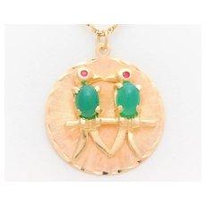 "Vintage 14k Gold Jade and Ruby ""Love Birds"" Pendant"