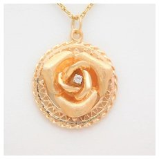 Vintage 14k Gold Rose Diamond Pendant