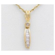 Vintage 14k Gold Diamond Drop Pendant