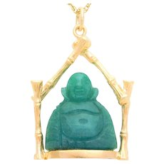 Vintage 14k Gold Bamboo Jade Buddha Pendant