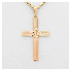 Vintage 10k Gold Rose Cross Pendant
