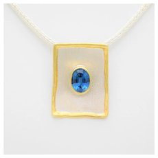 Greek Hand Crafted 950 Silver and 24k Gold Blue Topaz Pendant
