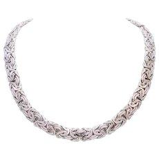 Vintage 14 Karat White Gold Byzantine Necklace