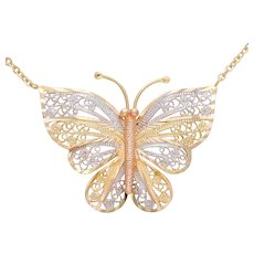 14k Two-Tone Gold Butterfly Necklace